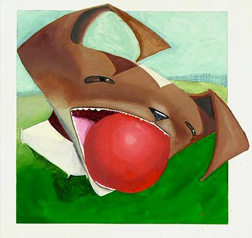 dog fetching ball illustration